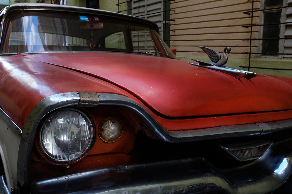 HAVANA, CUBA - CIRCA MARCH 2017: Detail of an old classic car in Havana.
