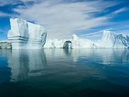 Icebergs at the mouth of the glacier in Disko Bay.