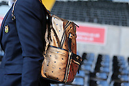 Paul Pogba of Manchester Utd arrives at the stadium off the team bus carrying two bags and wearing a Gold backpack. .Premier league match, Swansea city v Manchester Utd at the Liberty Stadium in Swansea, South Wales on Sunday 6th November 2016.<br /> pic by  Andrew Orchard, Andrew Orchard sports photography.
