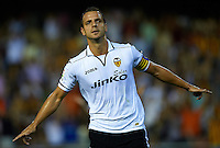 VALENCIA, SPAIN - AUGUST 26:   Roberto Soldado of Valencia celebrates after scoring during the La Liga match between Valencia and Deportivo at Estadio Mestalla on August 26, 2012 in Valencia, Spain.  (Photo by Manuel Queimadelos Alonso/Getty Images)