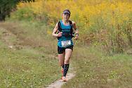 New Paltz, New York - Laura Kline runs through the Mohonk Preserve during the Shawangunk Ridge Trail Run/Hike 20-mile race  on Sept. 20, 2014.