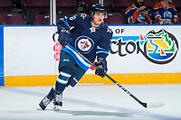 PENTICTON, CANADA - SEPTEMBER 9: Skyler McKenzie #76 of Winnipeg Jets warms up against the Edmonton Oilers on September 9, 2017 at the South Okanagan Event Centre in Penticton, British Columbia, Canada.  (Photo by Marissa Baecker/Shoot the Breeze)  *** Local Caption ***