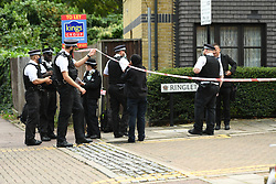 ©Licensed to London News Pictures; 10/09/2021, London UK; Met Detectives launch a murder investigation in Newham, East London after a male in his thirties was pronounced dead at a property in Ringlet Close, Canning Town. Emergency services were called at 03.40 this morning to reports of a male suffering from stab wounds and are questioning a 43 year old female arrested at the scene  : Photo credit, Steve Poston/LNP