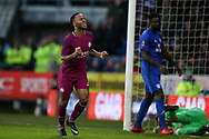 Raheem Sterling of Manchester city (l) celebrates after he scores his teams 2nd goal.  The Emirates FA Cup, 4th round match, Cardiff city v Manchester City at the Cardiff City Stadium in Cardiff, South Wales on Saturday 28th January 2018.<br /> pic by Andrew Orchard, Andrew Orchard sports photography.