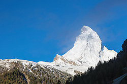 The Matterhorn, Zermatt Switzerland.  Scheduling a one night stay in Zermatt is a huge risk when your only intention is to photograph the Matterhorn as large mountains like this make their own weather.  The weather they make isn't good for seeing mountains.   I drove in and it was raining cats and dogs, luckily by morning blue sky insisted on being atop the mountain.