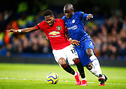 L-R Manchester United's Fred under pressure from Chelsea's N'Golo Kante during the English Premier League match between Chelsea and Manchester United, Monday, Feb. 17, 2020, at Stamford Bridge, in London, United Kingdom. Manchester United defeated Chelsea 2-0.  (Mitchell Gunn/Image of Sport)