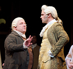 Mr Foote's Other Leg <br /> by Ian Kelly <br /> at Theatre Royal Haymarket, London, Great Britain <br /> press photocall<br /> 30th October 2015 <br /> <br /> <br /> <br /> Simon Russell Beale as Samuel Foote <br /> Joseph Millson as David Garrick <br /> <br /> <br /> <br /> Photograph by Elliott Franks <br /> Image licensed to Elliott Franks Photography Services