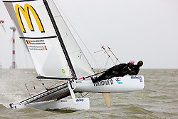 08_004316 © Sander van der Borch. Medemblik - The Netherlands,  May 25th 2008 . Sebbe Godefroid and Carolijn Brouwer sailing just after the finish of the medal race of the Delta Lloyd Regatta 2008.