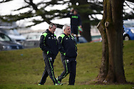 Wales head coach Warren Gatland ® and assistant coach Robert Howley walk to the training field. Wales rugby team announcement and training at the Vale Resort in Hensol, near Cardiff , South Wales on Tuesday 17th March 2015. The team are preparing for their next RBS Six nations match against Italy this weekend. <br /> pic by Andrew Orchard, Andrew Orchard sports photography.