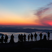 Sunrise from the top of Cadillac Mountain, the first place to see sunrise in the United States