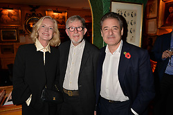 Jane Procter, Chris Moore and Tom Goldstaub attend CATWALKING, PHOTOGRAPHS BY CHRIS MOORE party hosted by The British Fashion Council & Laurence King Publishing at Annabel's, Mayfair, London England. 6 November 2017.
