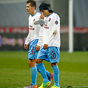 Trabzonspor's Gustavo Colman (R) and Marek Cech (L)  during their Turkish soccer superleague match IBBSpor between Trabzonspor at the Ataturk Olympic stadium in Istanbul Turkey on Saturday 07 January 2012. Photo by TURKPIX