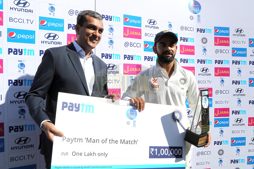 Virat Kohli Captain of India is man of the match during day 5 of the fourth test match between India and England held at the Wankhede Stadium, Mumbai on the 12th December 2016.<br /> <br /> Photo by: Ron Gaunt/ BCCI/ SPORTZPICS