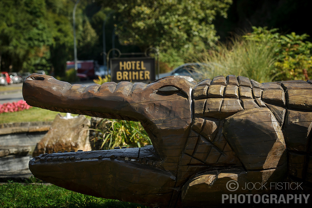 """GRUNDHOF, LUXEMBOURG - SEPT-9-2012 - The Brimer Hotel, a roadside resort in the town of Grundhof, just added a new """"wellness"""" wing to a traditional, century-old inn, and whose motley decorative plan features a larger than life hand-carved, wooden alligator, some striking taxidermy in the lobby hallway and a Vegas touch in the large, well-appointed bedroom (141 euros.) The foie gras was superb and the broiled lobster, too. Great for travelers with a sense of humor. (Photo © Jock Fistick)"""