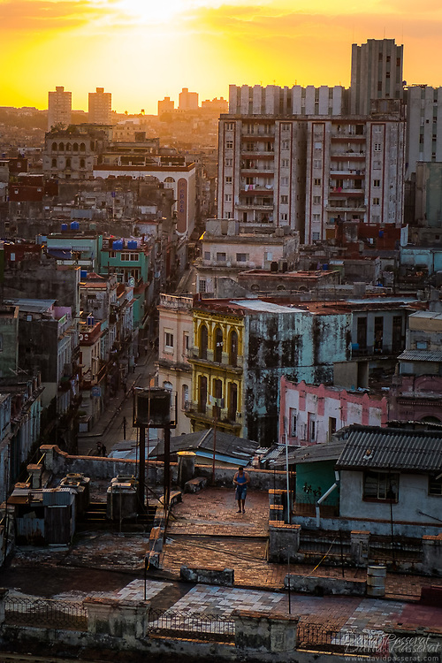Sunset over Old Havana district