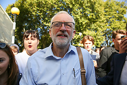 © Licensed to London News Pictures. 20/09/2019. London, UK. Leader of the Labour Party JEREMY CORBYN leaves after speaking at a rally attended by tens of thousands of students of all ages take part in climate change global and general strike in Westminster. It is one of more than 150 events planned across the U.K. to demand urgent action to tackle climate change. Photo credit: Dinendra Haria/LNP