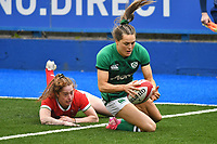 Rugby Union - 2021 Women's Six Nations - Group B - Round Two - Wales vs Ireland - Cardiff Arms Park<br /> <br />  Beibhinn Parsons (Ballinasloe/Blackrock College/Connacht)of Ireland catches a chip ahead to score a try <br /> <br /> COLORSPORT/WINSTON BYNORTH