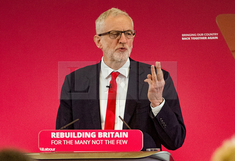 @Licensed to London News Pictures 09/05/19. Chatham, Medway, Kent. Mr Jeremy Corbyn MP, Leader of the Labour Party launches the Labour Party European election campaign and Labour's manifesto for the European parliamentary election. today in Medway, Kent.  Photo credit: Manu Palomeque/LNP