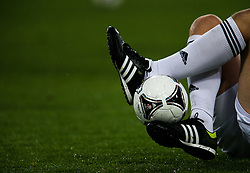 A generic close up of a player controlling the ball during the half time entertainment