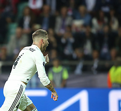 August 15, 2018 - Tallinn, Estonia - Real Madrid's Spanish defender Sergio Ramos celebrate after scores the 2-1 from the penalty spot against Atletico Madrid's Slovenian goalkeeper Jan Oblak (not in picture)  during the UEFA Super Cup between Real Madrid and Atletico Madrid at Lillekula Stadium on August 15, 2018 in Tallinn, Estonia. (Credit Image: © Raddad Jebarah/NurPhoto via ZUMA Press)