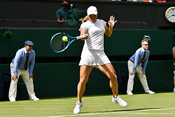 © Licensed to London News Pictures. 01/07/2019. London, UK. Yulia Putintseva of Kazakhstan wins her 1st round ladies singles against no.2 seed Naomi Osaka of Japan of the Wimbledon Tennis Championships 2019 on Day 1 held at the All England Lawn Tennis and Croquet Club. Photo credit: Ray Tang/LNP