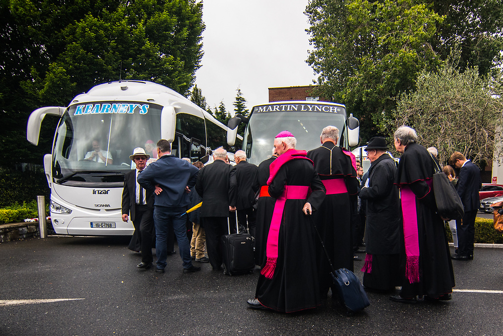 """Dublin, Ireland. 26th August, 2018. <br /> Bishop and Archbishops join together at the Clayton Hotel in Burlington road, ahead of the Holy Mass during the second of the two-days of the visit of Pope Francis in Dublin, Ireland.<br /> Pope Francis has made a two-day visit to the Republic of Ireland by celebrating a Mass at Dublin's Phoenix Park. The Argentine Pope asked forgiveness for the """"abuses in Ireland, abuses of power, conscience and sexual abuses"""" perpetrated by Church leaders. It was the first papal visit to Ireland for 39 years. During his activities many activists, victims and survivors have made protests and a silent march Garden of Remembrance towards the last Magdalene Laundry to close in Ireland.<br />  © Simone Padovani"""