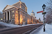 Picture of Marché Bonsecours market taken at dusk from Rue de la Commune, Old Montreal, Quebec, Canada