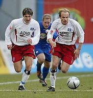 v.l. Vyacheslav HLEB HSV, Rene RYDLEWICZ, David JAROLIM HSV<br /> Bundesliga Hansa Rostock - HSV 3:0