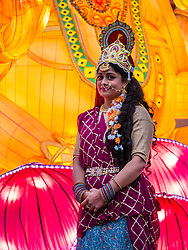 Ross Bandstand, Princes Street Garden, Edinburgh, Scotland, United Kingdom, 23 October 2019. Diwali Festival of Lights: Diwali Festival of Lights: Switch on of illuminations for Edinburgh Diwali with festive Indian dancers. The festival includes a number of events between October 23rd-26th. The festival culminates with a parade through the city on Saturday. <br /> Sally Anderson | EdinburghElitemedia.co.uk
