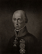 Francis II (1768-1835) of Holy Roman Empire and I of Austria from 1792. Son of Empress Maria Theresa.  Stipple engraving from 'History of the Wars Occasioned by the French Revolution...' by CH Gifford (London, 1817).