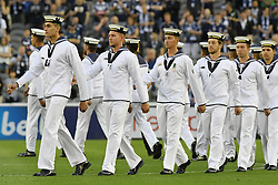 November 11, 2017 - Melbourne, Victoria, Australia - Prematch event commemorating remembrance day prior to the round six match of the A-League between Melbourne Victory and Brisbane Roar at Etihad Stadium, Melbourne, Australia. Melbourne drew 1-1 (Credit Image: © Sydney Low via ZUMA Wire)