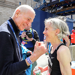 Boston Marathon<br /> Joan Benoit Samuelson greeted by George Hirsch after she finishes the Boston Marathon