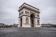 Paris, France, 3/17/20   The famous Arc de Triomphe during lockdown in Paris.