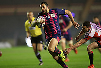 Geoffrey Doumayrou of Stade Francais runs past Tom Marshall of Gloucester to score a try in the Challenge Cup Final at Murrayfield Stadium, Edinburgh. Picture date: May 12th, 2017. Photo credit should read: Sportimage