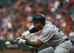 April 30, 2018 - Houston, TX, U.S. - HOUSTON, TX - APRIL 30:  New York Yankees center fielder Aaron Hicks (31) bunts out to catcher in the top of the second inning during the baseball game between the New York Yankees and Houston Astros on April 30, 2018 at Minute Maid Park in Houston, Texas.  (Photo by Leslie Plaza Johnson/Icon Sportswire) (Credit Image: © Leslie Plaza Johnson/Icon SMI via ZUMA Press)