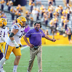 Sep 26, 2020; Baton Rouge, Louisiana, USA; LSU Tigers head coach Ed Orgeron against the Mississippi State Bulldogs during the second half at Tiger Stadium. Mandatory Credit: Derick E. Hingle-USA TODAY Sports