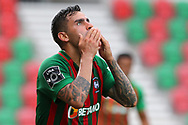 Maritimo's Jorge Correa celebrates after scores the first goal against Benfica during their Portuguese First League soccer match, held at Maritimo stadium, in Funchal, Madeira Island, 29 June 2020. GREGORIO CUNHA/POOL/LUSA