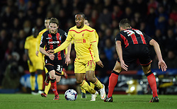 Liverpool's Raheem Sterling looks to pass - Photo mandatory by-line: Paul Knight/JMP - Mobile: 07966 386802 - 17/12/2014 - SPORT - Football - Bournemouth - Goldsands Stadium - AFC Bournemouth v Liverpool - Capital One Cup