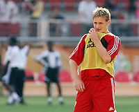 Photo: Chris Ratcliffe.<br />Trinidad & Tobago training session. FIFA World Cup 2006. 14/06/2006.<br />Chris Birchall in training.