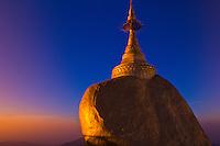 Golden Rock at sunrise, Kyaikhtiyo Pagoda, Mon State, Myanmar (Burma)