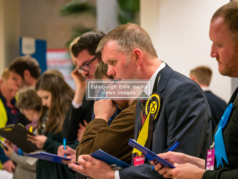 Pictured: Leith Walk Council By-Election. Edinburgh City Council, Edinburgh, Scotland, 11 April 2019. Pictured: Dan McCroskrie, Scottish Conservative and Unionist candidate, Jack Caldwell, Scottish Liberal Democrats candidate and Rob Munn, Scottish National Party (SNP) candidate. 25,526 residents are registered to vote in one of the most densely populated areas in Scotland under the Single Transferable Vote (STV) system. This is the first time in Scotland that an STV by-election has been needed to fill two vacancies in the same ward, held as a result of the resignation of Councillor Marion Donaldson. The election fielded 11 candidates, including the first ever candidate for the For Britain Movement in Scotland, Paul Stirling, founded by former UKIP leadership candidate Anne Marie Waters in March 2018.<br /> <br /> Sally Anderson   EdinburghElitemedia.co.uk
