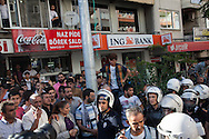 Demonstrators and police in the town of Soma, western Turkey where police used water canons and tear gas to disperse crowds on Friday evening.