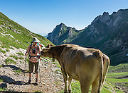 View looking east from pastures of Meglisalp along the Rotsteinpass trail, in the Alpstein limestone mountain range, Appenzell Alps, Switzerland, Europe. Appenzell Innerrhoden is Switzerland's most traditional and smallest-population canton (second smallest by area). For licensing options, please inquire.