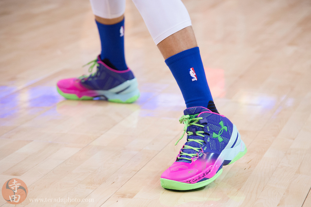 December 25, 2015; Oakland, CA, USA; Detail view of the Under Armour shoes worn by Golden State Warriors guard Stephen Curry (30) before a NBA basketball game on Christmas against the Cleveland Cavaliers at Oracle Arena. The Warriors defeated the Cavaliers 89-83.