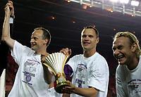 ◊Copyright:<br />GEPA pictures<br />◊Photographer:<br />Mario Kneisel<br />◊Name:<br />Dospel<br />◊Rubric:<br />Sport<br />◊Type:<br />Fussball<br />◊Event:<br />Stiegl Cup Finale, SK Rapid Wien vs Austria Magna Wien<br />◊Site:<br />Wien, Austria<br />◊Date:<br />01/06/05<br />◊Description:<br />Sigurd Rushfeldt, Ernst Dospel, Sebastian Mila (A.Wien), Pokal, Jubel<br />◊Archive:<br />DCSKN-0106054316<br />◊RegDate:<br />01.06.2005<br />◊Note:<br />KA/TM - Nutzungshinweis: Es gelten unsere Allgemeinen Geschaeftsbedingungen (AGB) bzw. Sondervereinbarungen in schriftlicher Form. Die AGB finden Sie auf www.GEPA-pictures.com.<br />Use of picture only according to written agreements or to our business terms as shown on our website www.GEPA-pictures.com