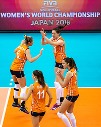 11-10-2018 JPN: World Championship Volleyball Women day 12, Nagoya<br /> Netherlands - Serbia 3-0 / Maret Balkestein-Grothues #6 of Netherlands, Lonneke Sloetjes #10 of Netherlands, Anne Buijs #11 of Netherlands, Juliet Lohuis #7 of Netherlands