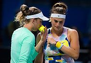 Elise Mertens of Belgium and Aryna Sabalenka of Belarus playing doubles at the 2020 Australian Open, WTA Grand Slam tennis tournament on January 23, 2020 at Melbourne Park in Melbourne, Australia - Photo Rob Prange / Spain ProSportsImages / DPPI / ProSportsImages / DPPI