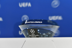 NYON, SWITZERLAND - Friday, July 10, 2020: The draw bowl pictured during the UEFA Champions League and UEFA Europa League 2019/20 draws for the Quarter-final, Semi-final and Final at the UEFA headquarters, The House of European Football. (Photo Handout/UEFA)