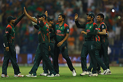 September 27, 2018 - Abu Dhabi, United Arab Emirates - Bangladesh players celebrate   during the Asia Cup 2018 cricket match between Bangladesh and Pakistan at the Sheikh Zayed Stadium,Abu Dhabi, United Arab Emirates on September 26, 2018  (Credit Image: © Tharaka Basnayaka/NurPhoto/ZUMA Press)