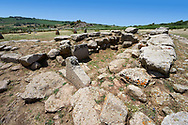 Picture and image of the prehistoric nuragic Giants Tomb foundation ruins, The Prehistoric Nuragic Complex of Tamuli, Macomer, Sardinia. .<br /> <br /> Visit our PREHISTORY PHOTO COLLECTIONS for more   photos  to download or buy as prints https://funkystock.photoshelter.com/gallery-collection/Prehistoric-Neolithic-Sites-Art-Artefacts-Pictures-Photos/C0000tfxw63zrUT4<br /> If you prefer to buy from our ALAMY PHOTO LIBRARY  Collection visit : https://www.alamy.com/portfolio/paul-williams-funkystock/tamuli-standing-stones-sardinia.html